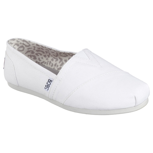 Skechers 33645 WHT Women's BOBS PLUSH-PEACE AND LOVE Flat