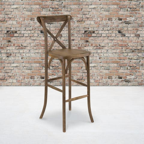 2 Pack 350lb. Rated Dark Antique Wood Cross Back Stackable Barstool
