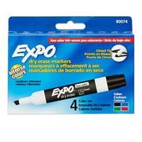 Marker Expo 2 Dry Erase 4 Color Chisel Black Red Blue Green
