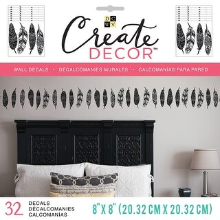 """Dcwv Create Decor Removable Wall Decals 8""""X8""""-Feathers, 8 Sheets"""