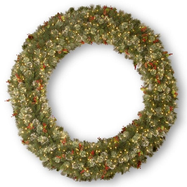 """72"""" Wintry Pine(R) Wreath with Clear Lights - green"""