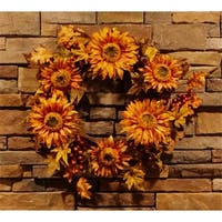 NorthLight 24 in. Autumn Harvest Sunflower Berry Wreath - Unlit