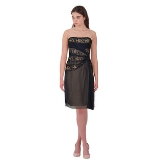Alberta Ferretti Draped Silk Lace Inset Strapless Cocktail Evening Dress - 6