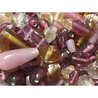 Stanislaus Glass Bead Mix, 1 Pound, Shades of Pink