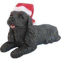 Black Cocker Spaniel With Santa Hat Christmas Ornament Sculpture
