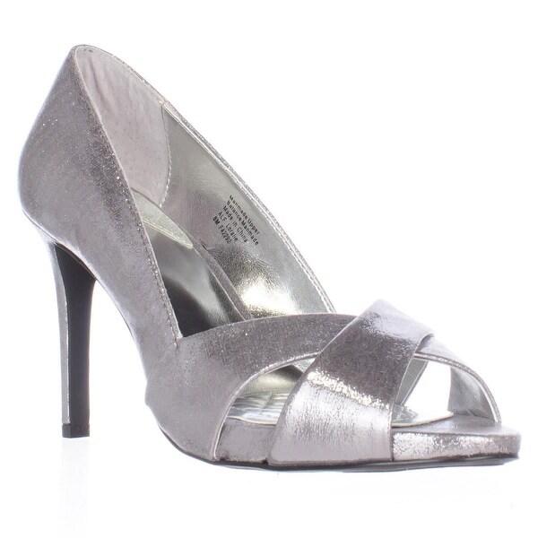A35 Loralie Open-Toe Heels, Gunmetal