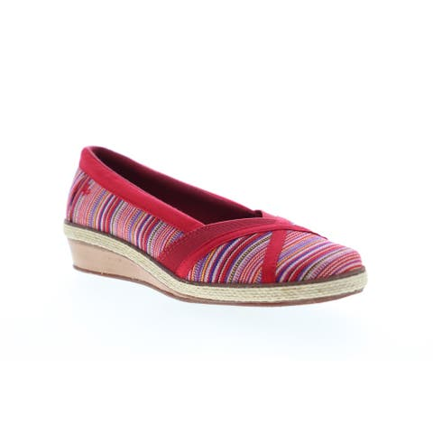 Grasshopper Misty Wedge Red Multi Womens Loafers & Slip Ons Casual