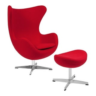 Offex Red Wool Fabric Egg Chair with Tilt-Lock Mechanism and Ottoman