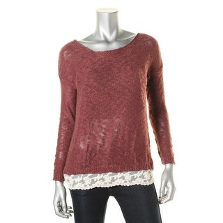 Hippie Rose Womens Juniors Scoop-Neck Lace Trim Pullover Sweater