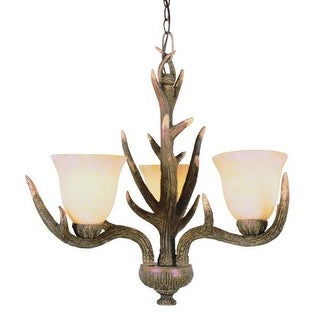 Trans Globe Lighting 7080 Three Light Up Lighting Chandelier from the Country Style and Antlers Collection