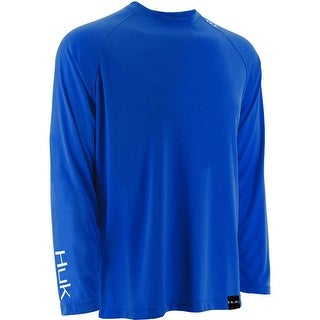 Huk Men's LoPro Raglan Royal Medium Performance Long Sleeve Shirt