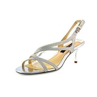 Nina Circe Women Open-Toe Canvas Silver Slingback Heel