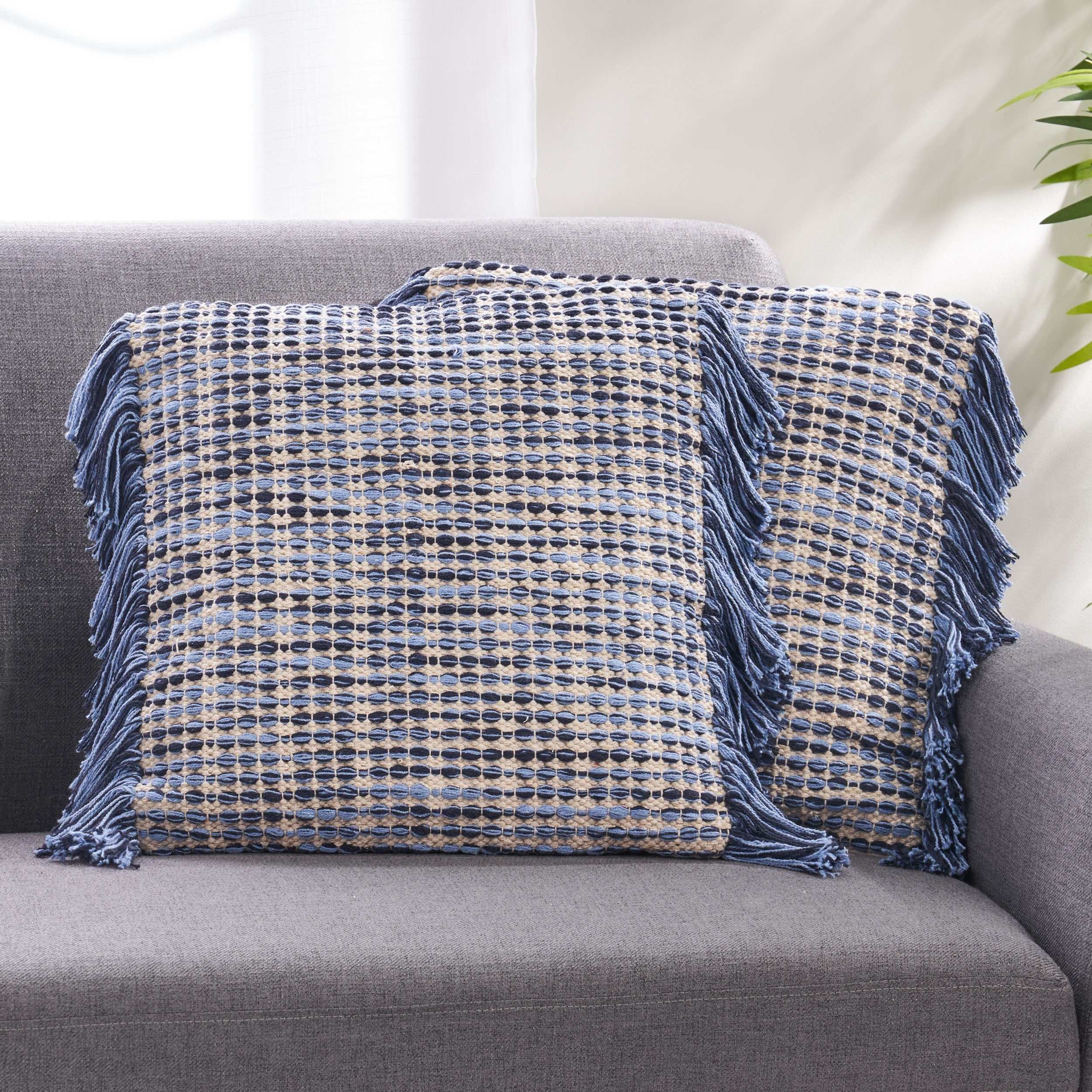 Picture of: Shop Black Friday Deals On Dunibar Hand Loomed Boho Pillow Cover By Christopher Knight Home Overstock 31111649 Blue Natural Single