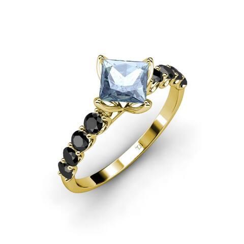 TriJewels Aquamarine Black Diamond Womens Engagement Ring 14K Gold