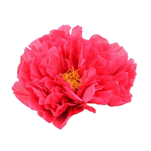 Living Room Fabric Artificial Peony Flower Head DIY Handmade Petal Decor Fuchsia