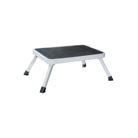 Offex Steel 1-Step Folding Platform Stool with Carry Handle - White