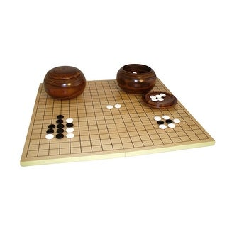 8mm Glass Stone Go Set W/ Slotted Board and Wood Bowls - brown