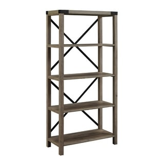 "Delacora WE-BDS64MX  14"" Wide Four Shelf Laminate, Wood and Metal Utility Shelf"