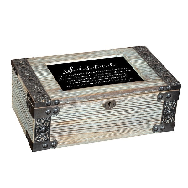 """9.75"""" Ivory and Brown Sister Quotes Printed Rectangular Music Box - N/A"""
