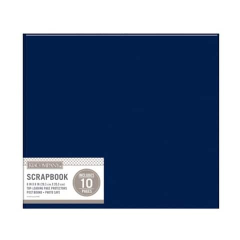 K&Co Scrapbook 8x8 Basic Faux Lther Navy