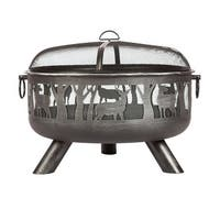 "Fire Sense 62340 Yukon 33"" Wide Circular Free Standing Wood Burning Steel Firepit with Multipurpose Fire Tool/Screen Lifter"
