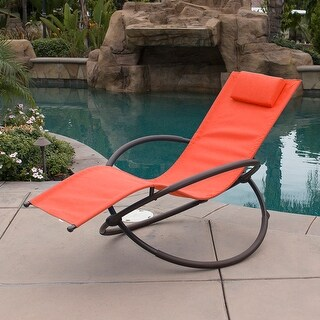Belleze Orbital Foldable Zero Gravity Lounger Chair Rocking Furniture Outdoor Chaise, Orange