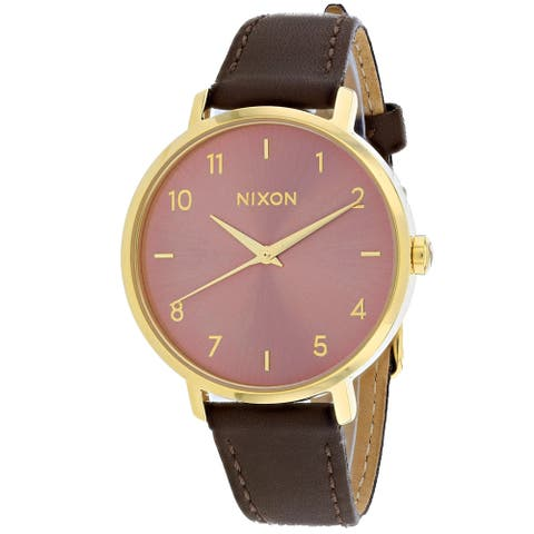 Nixon Women's Arrow Leather Rose Gold Watch - A1091-3006 - One Size