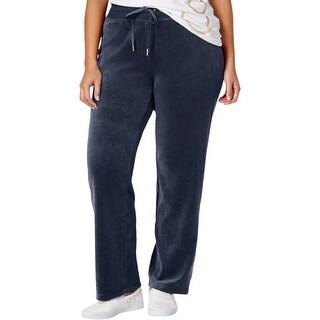 Calvin Klein Womens Lounge Pants Velour Flat Front