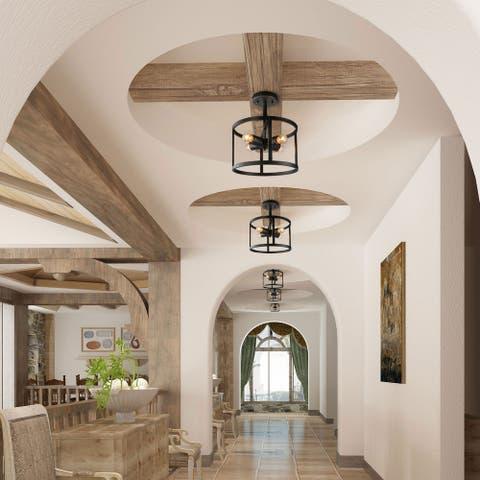 "Modern 4-Light Semi-flush Mount Drum Ceiling Lights Fixture - W11.8""xH14"""