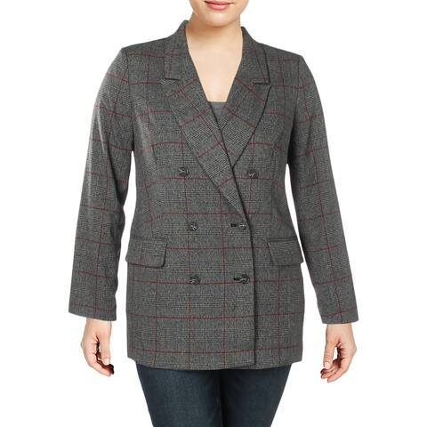 CeCe Womens Double-Breasted Blazer Plaid Oversized