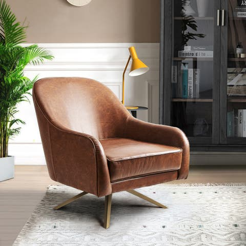 """Leather Accent Chair Swivel-Base Upholstered Armchair with Faux PU - 28.4""""W x 31.8""""D x 32.2""""H"""