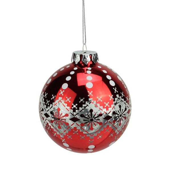 "3.75"" Alpine Chic Red and White Snowflake Fair Isle Nordic Design Christmas Ball Ornament"