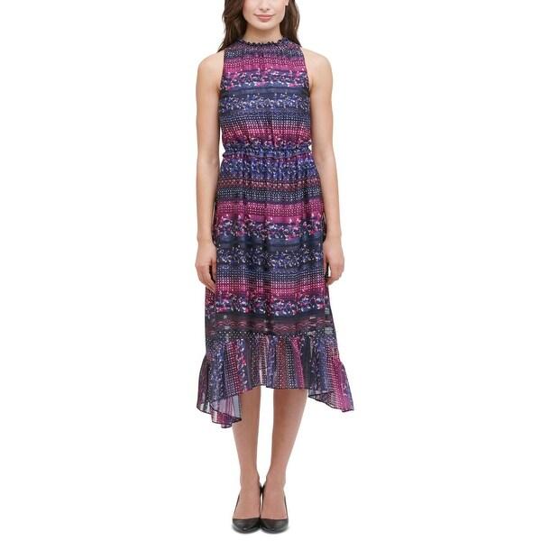 Kensie Womens Casual Dress Printed Midi - Navy. Opens flyout.