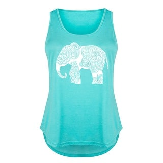 White Henna Elephant - Ladies Plus Size Tank Top