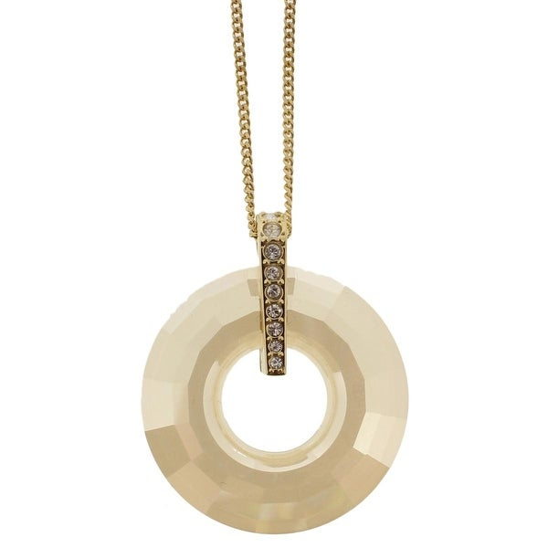Swarovski Womens Pendant Necklace Crystal Round - GOLD