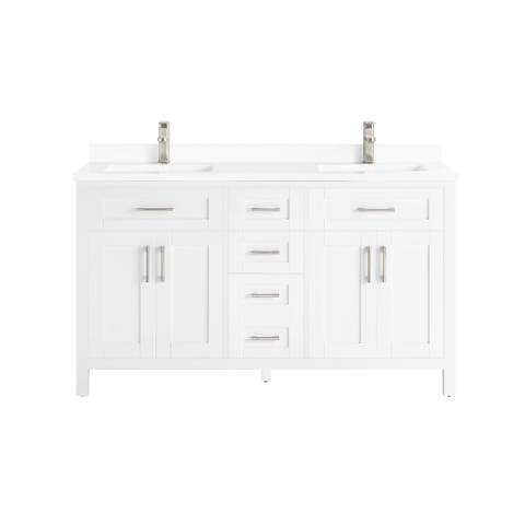 OVE Decors Tahoe-Lux 60 in. Vanity in White with Power Bar