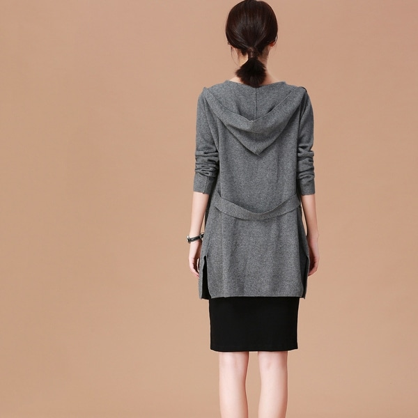 2019 Women's Spring New Long Hooded Knit Cardigan. Opens flyout.
