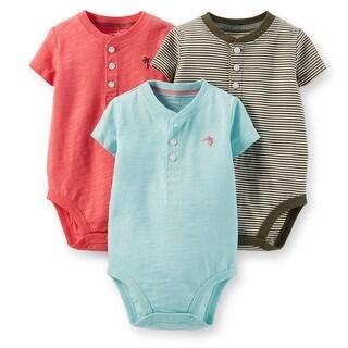 Carters Boys 0-24 Months Henley Bodysuit - 3 Pack - olive