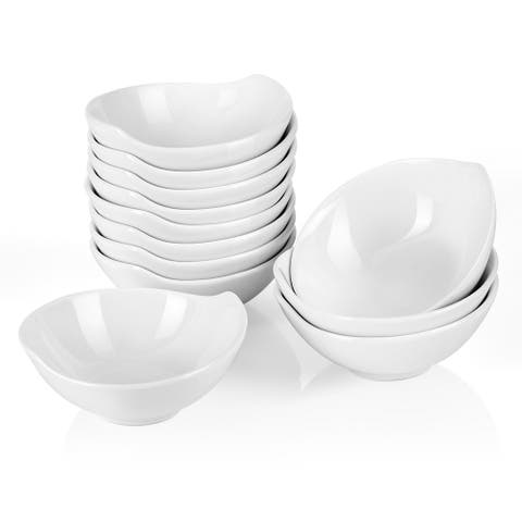 4.3'' White Porcelain Ramekins Serving Bowls for Ice Cream Set of 12