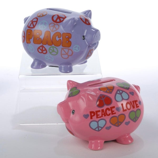 """Pack of 6 Pink and Purple Peace and Love Piggy Banks 3.5"""". Opens flyout."""