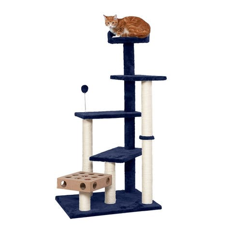 FurHaven Tiger Tough Play Stairs Cat Tree House with Cat-IQ Busy Box