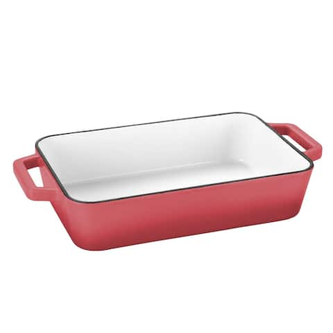 """30"""" x 21"""" Rectangular Grill Pan Full Painted Cream Enamelled - Red"""