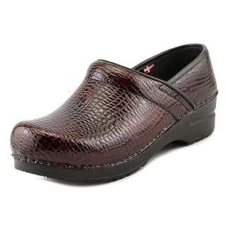 Sanita Professional Croco Women Round Toe Patent Leather Burgundy Clogs