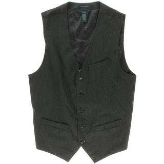 Perry Ellis Mens Fine Striped Button-Front Suit Vest - S