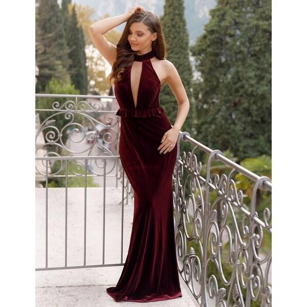 Ever-Pretty Women's Sexy High Collar Velvet Evening Ball Gown Prom Party Dress 07180