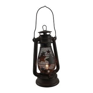 Starry Light Rustic Brown Metal Mesh Electric Hurricane Lantern Lamp