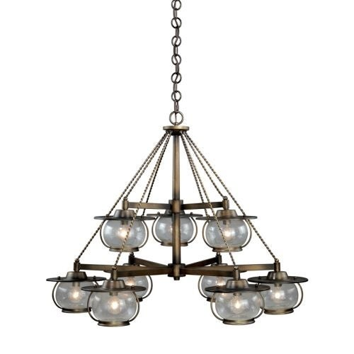 Vaxcel Lighting H0028 Jamestown 9 Light Two Tier Chandelier with Clear Seeded Glass Shades - 35 Inches Wide