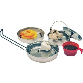 Texsport 13156 Stainless Steel Camping Cookware Mess Kit, 5 Pieces|https://ak1.ostkcdn.com/images/products/is/images/direct/c7cf59297b817714bfb1f60680ff69c64a515802/Texsport-13156-Stainless-Steel-Camping-Cookware-Mess-Kit%2C-5-Pieces.jpg?impolicy=medium