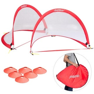 Goplus Set of 2 Portable 4' Pop-Up Soccer Goals Set For Backyard w Carrying Bag 6 Cones - Red