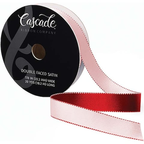 "Cascade Double Faced Satin Ribbon 7/8""X20yd-Pink/Red"